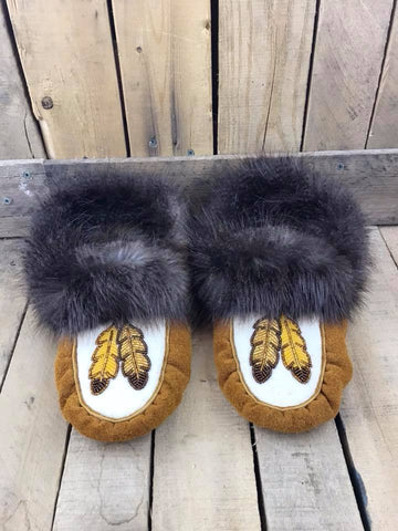 Factory Hide Beaver Cuff Lined Slipper 2 Gold Feathers
