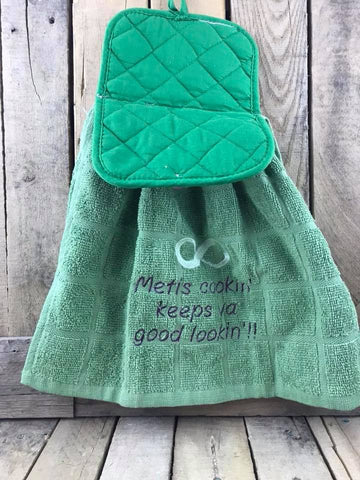 "Pot Holder/Tea Towel ""Metis cookin' keeps you good lookin'!!"""