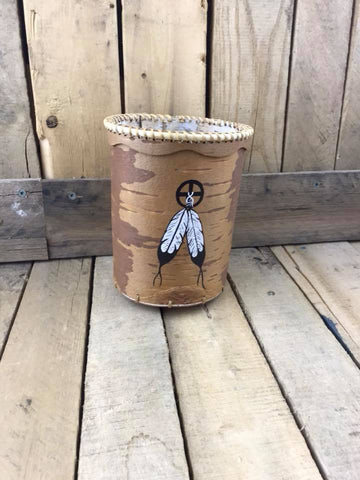 Birch Basket with 2 Feathers