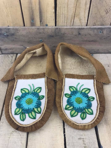 Moose Hide Moccasins Blue and Teal Flower Green Petals