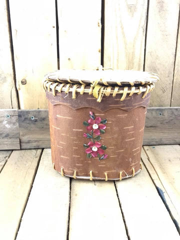 Oval Birch Bark Basket Fish Scale Red/Pink and Green