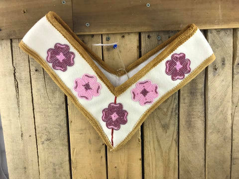 White Stroud Moose Hide Trim Graduation Shawl with Light Pink and Dark Pink