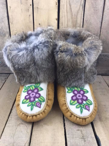 Light Tanned Moose Hide with Rabbit Fur Purple and Green Beaded Flowers