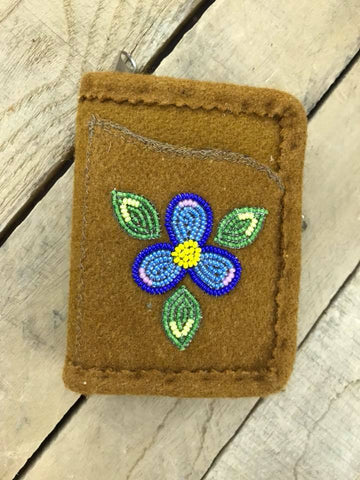 Wallet Brown Stroud 3 Leaf Flower Dark Blue Light