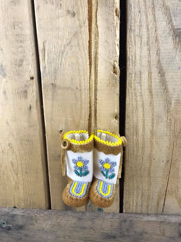 Mini Moose Hide Mukluks with Yellow and Grey Beaded