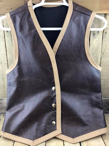 Vest Satin Lined Dark Brown Leather/Light Brown