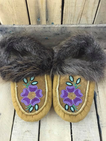 MooseHide Beaver Trim Slipper 2 Tone Purple with Yellow Centre Flower