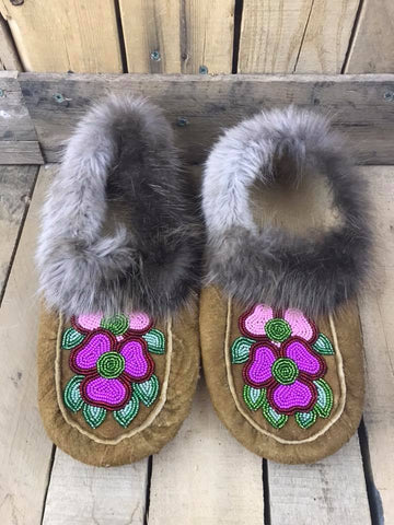 MooseHide Beaver Trim Pink/Purple Flowers