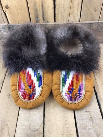 Smoked Deer-hide Beaver Fur Moccasins Full Beaded Vamp