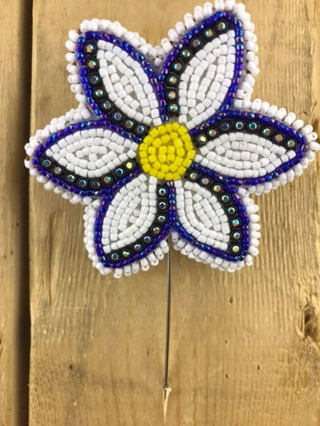 Stick Pin Beaded Brooches White/Blue/Yellow