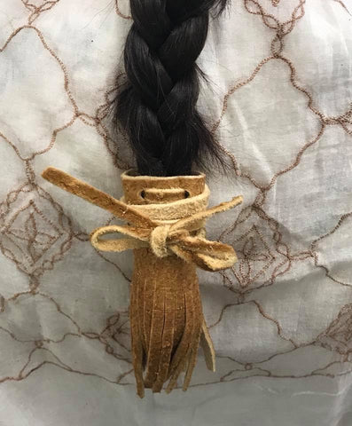 Fringed Mooshide Braid Tie