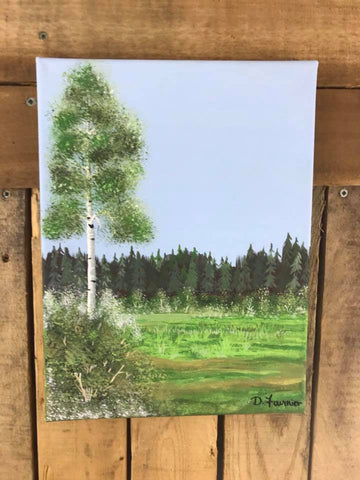 Poplar Tree Painting on Canvas