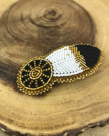 Gold/Black/White Beaded Feather Barrette