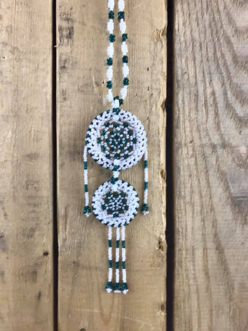 Teal & White Fully Beaded car Ornament