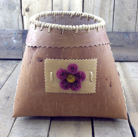Birch Bark Basket with Red Flower Moose Hair Tufting