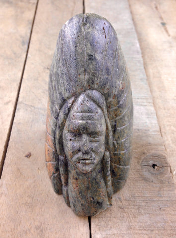 "Soap Stone Carving "" Indian Head"""