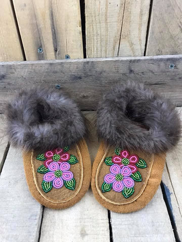 Moose Hide Beaver Trim Slipper Purple and Pink Flower