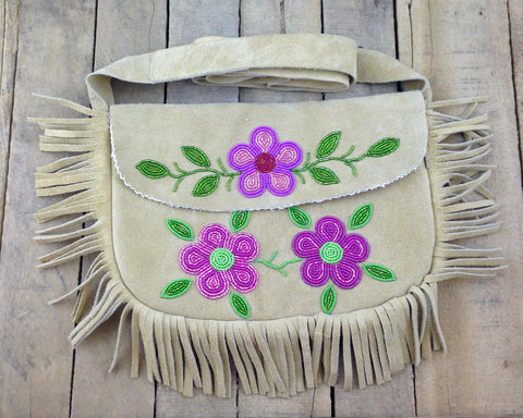 Factory Tanned Moose Hide Purse with Pink Flower Beadwork and Fringe
