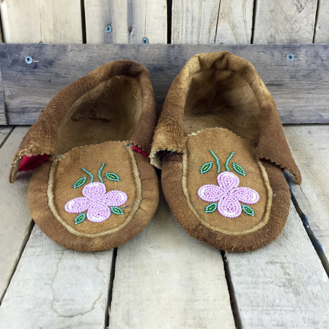 Pink and Green Beaded Flowers on Moose Hide Slippers