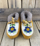 Blue, Green, and Orange Beaded Flower on Factory Hide Slippers