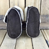 Dark Brown and Cream Colour Lined Sheepskin Slipper