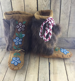 Blue/Red Beaded Flowers on Hand Tanned Moose Hide Mukluks with Beaver Fur Trim