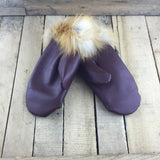 Burgundy Leather Mitts with Alpaca Lining and Red Fox Fur