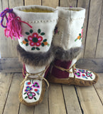 Beaded Multicolored Flowers on Hand Tanned Mukluks with Beaver Fur