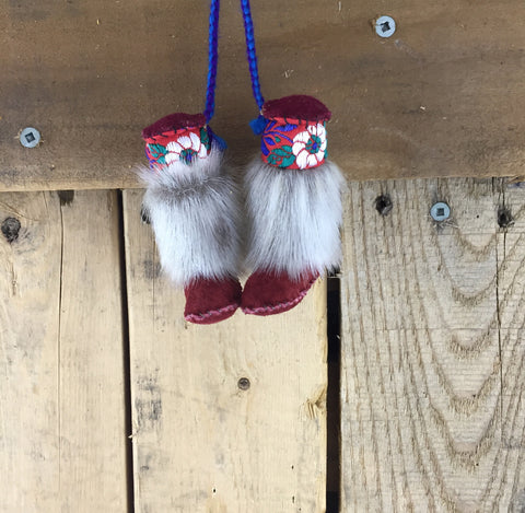 Mini Burgundy Mukluk Ornament with Seal Skin