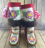 Beaded Pink Flowers on White Stroud on Hand Tanned Mukluks with Beaver Fur