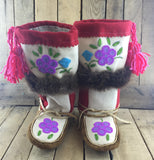 Beaded Purple Flowers on White Stroud on Hand Tanned Mukluks with Beaver Fur