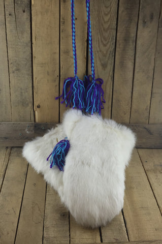 Large White Rabbit Fur Mittens with Sheepskin Lining and Braided String