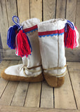Plain White Canvas Hand Tanned Mukluks with Blue/Red Strings