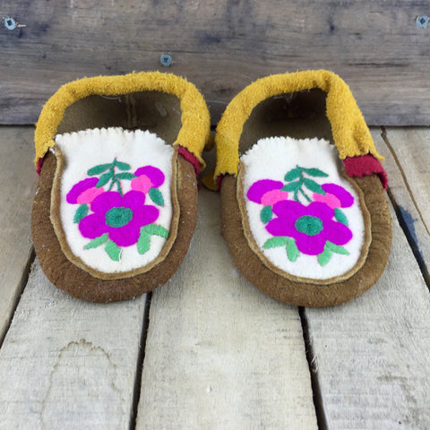 Pink and Green Embroidered Flowers on Moose Hide Slippers