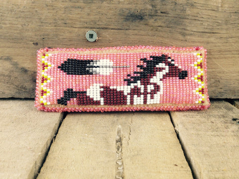 Horse and Feather Beaded on Hair Barrette