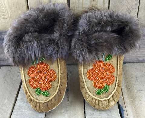 Orange Beaded Flowers on Hand Tanned Moose Hide Slippers with Beaver Fur