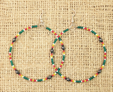 Multi-coloured Beaded Hoop Earrings