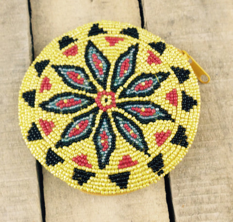 Yellow/Red/Blue/Black Beaded Round Coin Purse