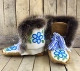 Blue/Green Flower Beaded Moose-Hide/Stroud Crow Boots with Beaver Fur