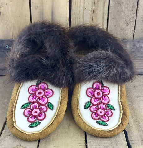 Pink/Green/Red Beaded Moose-Hide Slippers with Beaver Fur