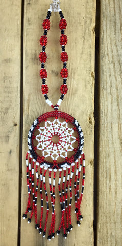 Red/White/Black Beaded Dreamcatcher Ornament