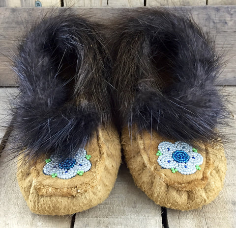 Blue Beaded Flowers on Hand Tanned Moose Hide Slippers with Beaver Fur