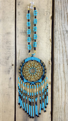 Teal/Gold/Black Beaded Dreamcatcher Ornament