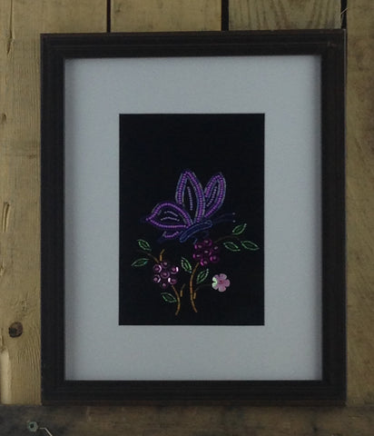 Purple Beaded Butterfly on Stroud in Black Frame