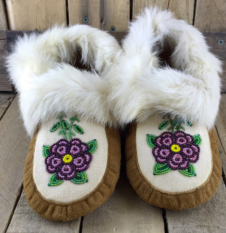 Pink and Purple Beaded Flowers on Hand Tanned Moose Hide Slippers with White Rabbit Fur
