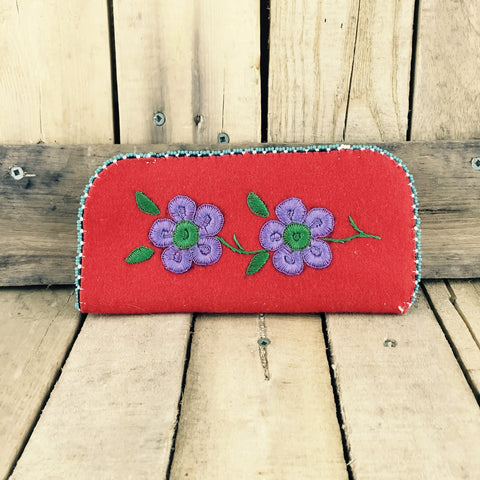 Eye Glass Case Red With Purple Embroidered Flowers