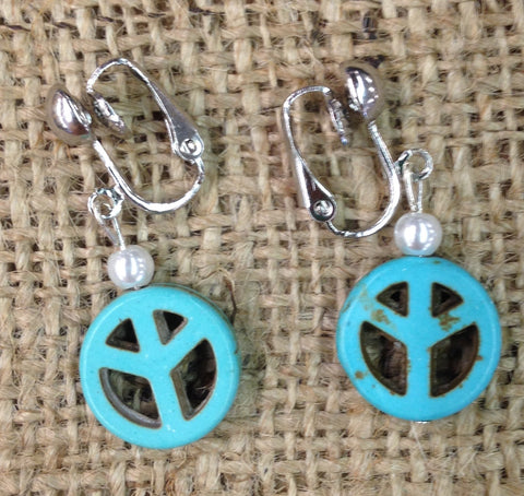 Synthetic Turquoise Peace Symbol Clip-On Earrings