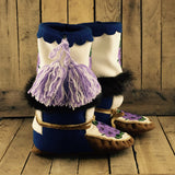 Purple Beaded Flowers on Hand Tanned Moose Hide and Stroud Mukluks with Beaver Fur