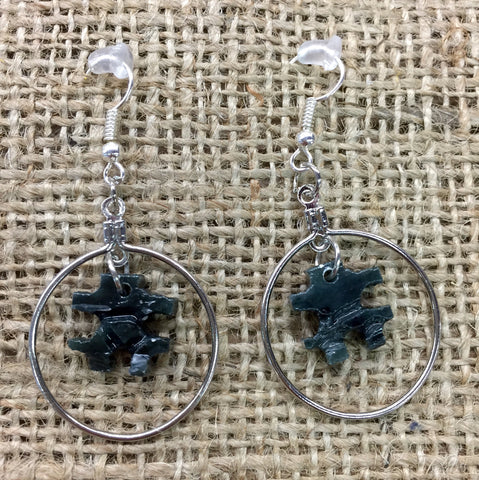 Black Inukshuk Soapstone Hoop Earrings