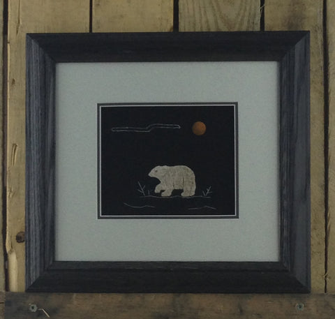 Polar Bear Design Moose Hair Tufting with Black Background and Grey Matting in Charcoal Wooden Frame